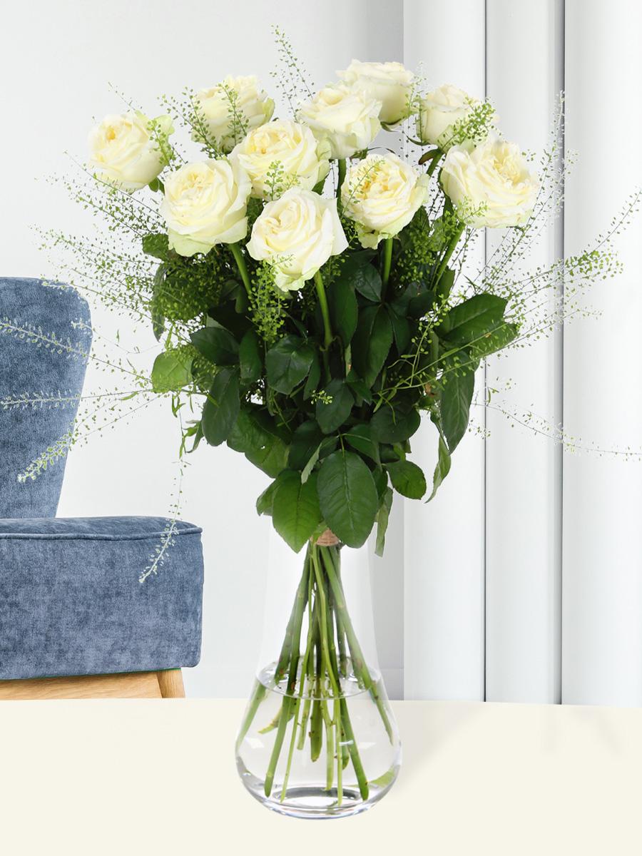 10 luxe witte rozen| Rozen online bestellen & versturen | Surprose.nl