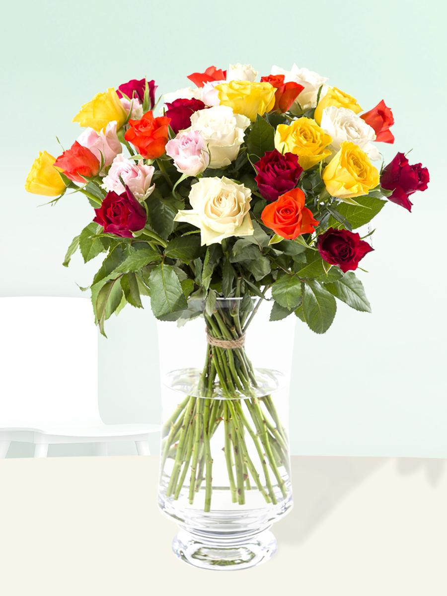 30 kleurrijke rozen | Rozen online bestellen & versturen | Surprose.nl