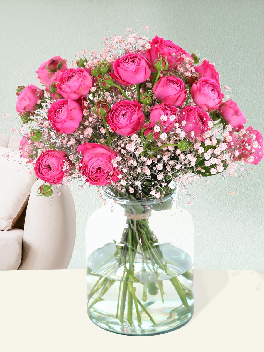Boeket roze trosrozen | Rozen online bestellen & versturen | Surprose.nl