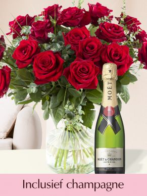 Rode rozen EverRed met Moët & Chandon champagne Brut 0,375l