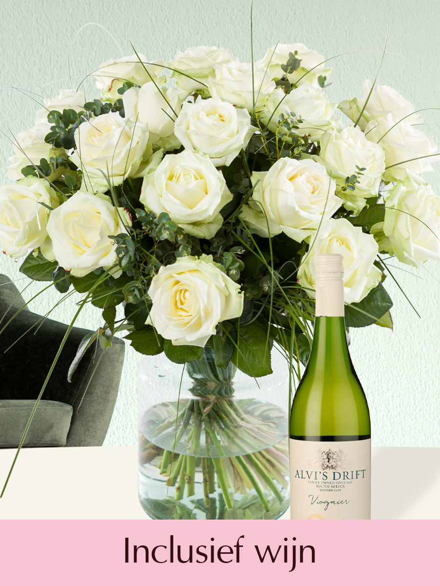 Wit rozenboeket + gratis witte Viognier wijn | Rozen online bestellen & versturen | Surprose.nl