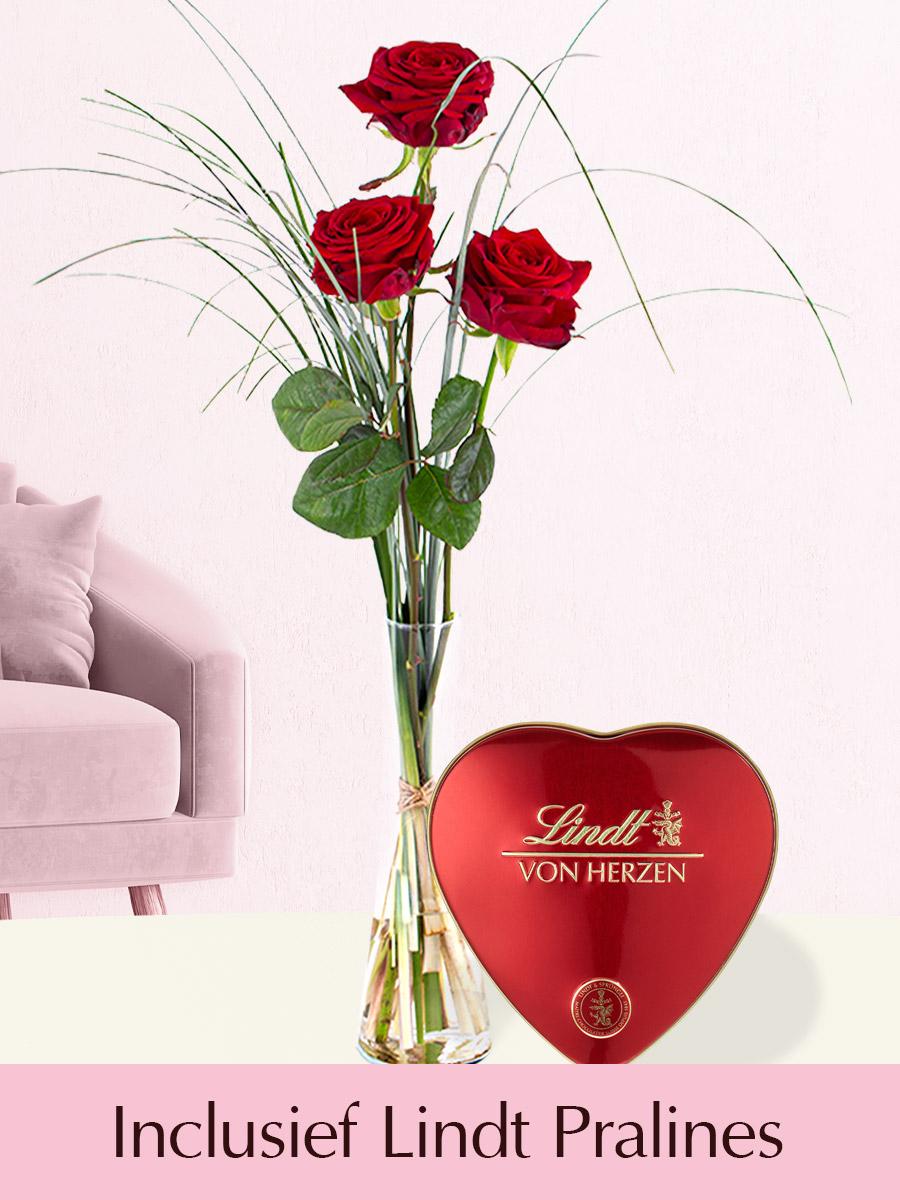 Drie rode rozen inclusief glasvaas en Lindt Pralines
