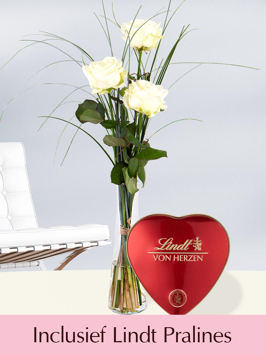Drie witte rozen inclusief glasvaas en Lindt Pralines bestellen