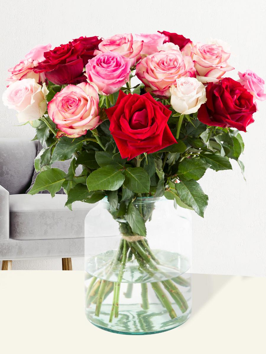 Boeket rode -roze rozen